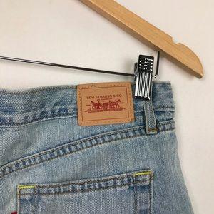 Levi's Light Wash Boyfriend Cut Off Jean Shorts